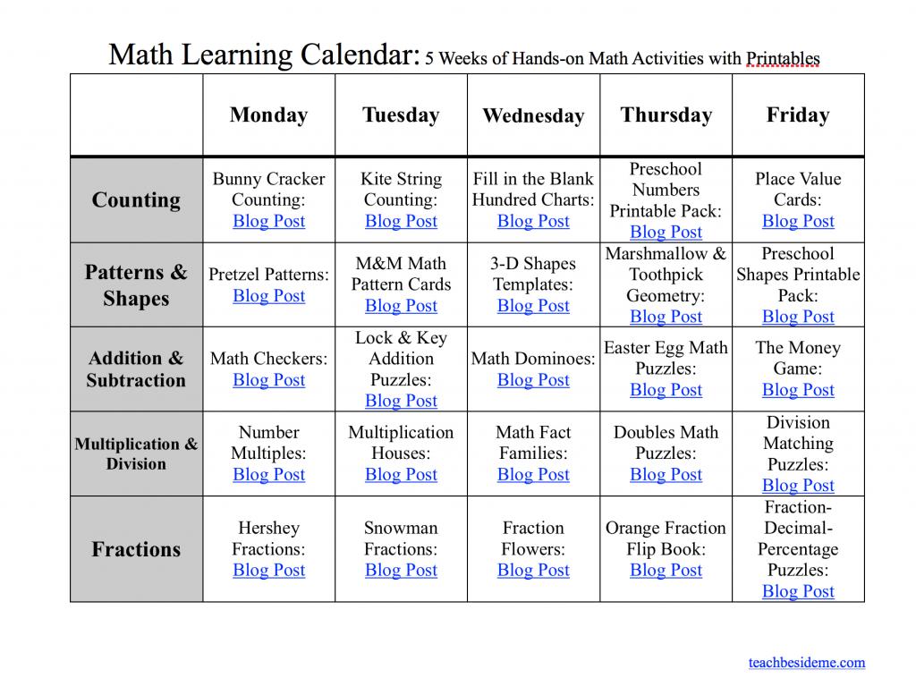 Math Learning Calendar